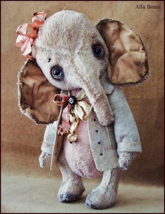 by alla bears original artist winter wonderland elephant ellie. Black Bedroom Furniture Sets. Home Design Ideas