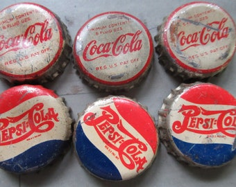 Vintage Coke and Pepsi bottle caps, vintage bottle caps, vintage soda caps, Pepsi, Coke, collectable coke, collectable Pepsi