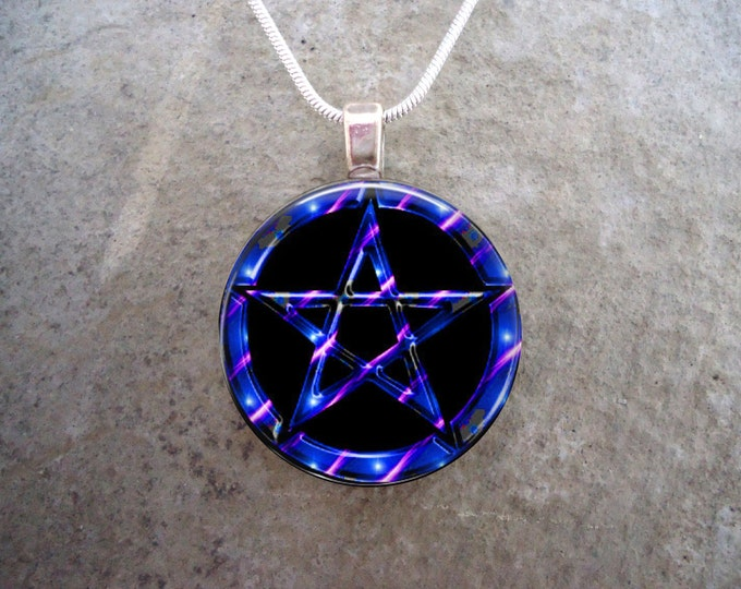 Wiccan Pentacle Jewelry - Glass Pendant Necklace - Black and Blue