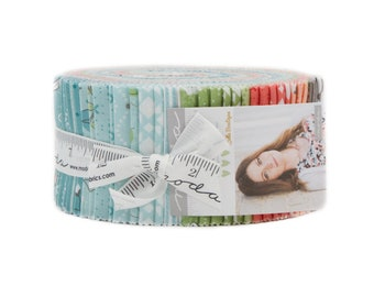 "Nest Jelly Roll by Lella Boutique from Moda Fabrics, 42 2.5"" x 44"" Strips, Complete Collection, Birds, Floral"