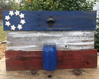 Rustic American Flag Bottle Opener,4th of July decor,partriotic,fathers day gift,mothers day gift,housewarming gift,christmas gift