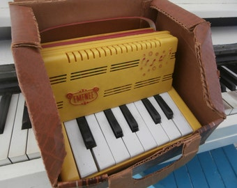 1950-60's, Vintage, Accordion, Emenee Musical Toy Keyboard, Child's Squeeze Box, Original Carrrying Case