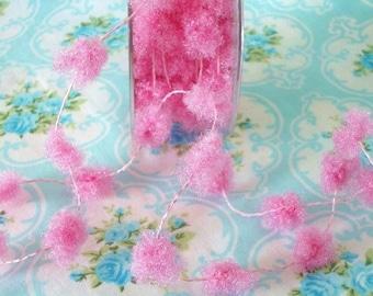 Cotton Candy Pink Fuzzy Pom Pom Wire Trim - 1/2 inch - 1 Yard