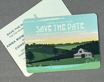 Rustic Kentucky Barn Wedding with Rolling Hills at Sunset Vintage Save the Date Postcard