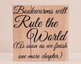 "Literary Gifts, ""Bookworms will Rule the World"" Book Lover Gift, Bookworm Gifts, Librarian Gifts, Teacher Gifts"
