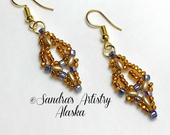 Beaded Earrings in Copper-Gold  (Handmade and Designed)