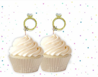 Glitter Ring Cupcake Toppers  -  Wedding Cupcake Topper, Bridal Cake Topper, Engagement Cupcake Toppers, Engagement Party