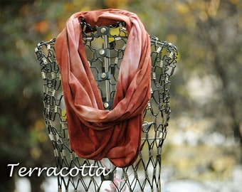Orange Red Rust Infinity Scarf-Cotton Jersey Scarf-Marble Abstract Scarf-Terracotta