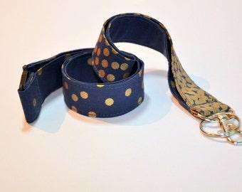 Fabric Lanyard  ID Badge Holder -  Teacher lanyard - Fashion lanyard - Gold on blue - Breakaway safety clasp