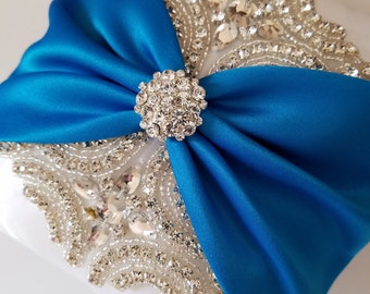 Wedding Ring Pillow, Wedding Cushion with Rhinestone Detail, White Satin with Turquoise Satin Sash Cinched by Crystals - The ROSALINA Pillow