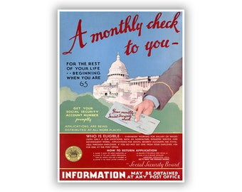 Social Security Poster, 1930s Government Promotion, Vintage Style Print, Mid Century Wall Art