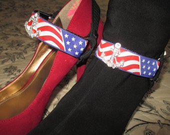 Boot Straps Shoe Jewelry Patriotic Flag Red White Blue Rhinestone Anchor