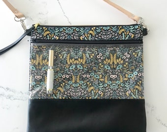 Black floral LipSense cross body bag
