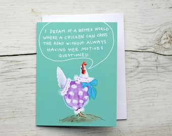 Funny Chicken Friendship Card - Just Because - Thinking of You - Miss You- A Chicken's Motives