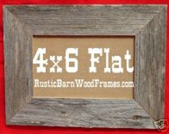 """4X6 1 1/2"""" Flat Unfinished rustic barn wood aged weathered custom repurposed primitive barnwood photo picture frame 4"""" x 6"""""""