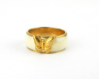 Vintage Gold Ivory Enamel Butterfly Band Ring - 1970's - 8 mm Wide - Sea Shore Ocean Summer - Size 7