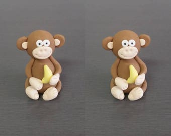 2 x 3D Monkey Cake topper, monkey decoration, Edible fondant monkey, jungle theme, wild animals, animal cake decorations, monkey party