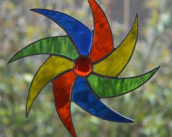 Multi Coloured Spiral - Stained Glass Suncatcher