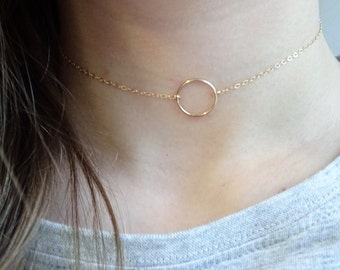 Gold Choker Necklace, Circle Ring necklace in Sterling Silver, 14kt Gold Filled, Karma necklace, Dainty Choker Necklace, Friendship jewelry