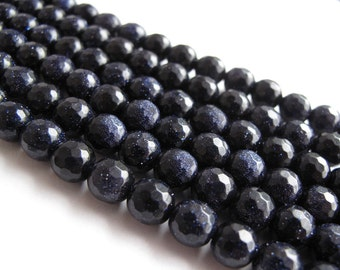 """Blue Goldstone 7mm Faceted Round Beads (one strand) Dark Navy Blue with Copper flecks """"Starry Night"""""""