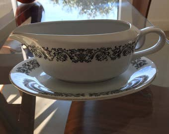 Corsair porcelain gravy boat and saucer by Ekco Products #1301