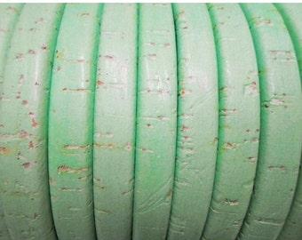 "Pre Cut 24"" Designers Color:  Portuguese Mint Green Cork Licorice Leather,"