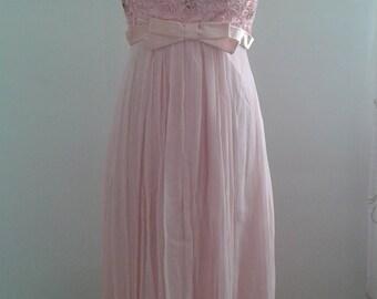 Vintage 1960's Baby Pink Flowy Chiffon Gown Formal Prom Dress Ribbon Work Bodice Empire Waist Sz Small