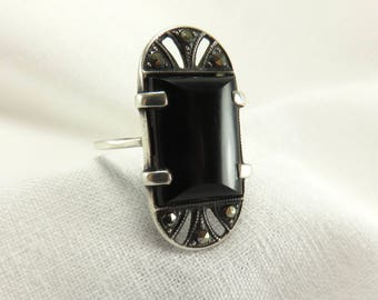 Circa 1930 Art Deco Onyx and Marcasite Silver Ring
