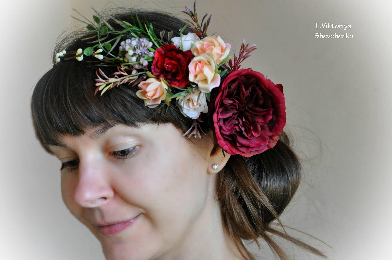 Wedding Flower Crown Floral Crown Ready Burgundy Peach Crown