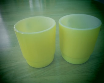 Two vintage 1960's  Anchor Hocking- Fire King bright yellow mugs