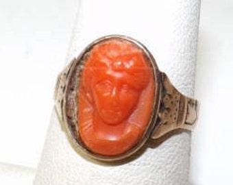 10k Gold and Carved Orange Cameo Ring Sz 7
