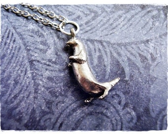 Silver Standing Otter Necklace - Antique Pewter Otter Charm on a Delicate Silver Plated Cable Chain or Charm Only