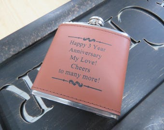 Happy 3rd Anniversary, Third Anniversary Flask, Gift for Husband, Leather Anniversary, Mens Gift Idea, Engraved Flask