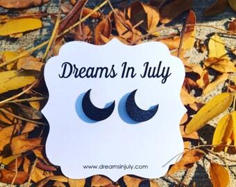 Moon Earrings, Black Glitter Earrings, Crescent Moon Earrings, Half Moon Earrings, Moon Earrings, Black Studs, Black Earrings, Moon Studs
