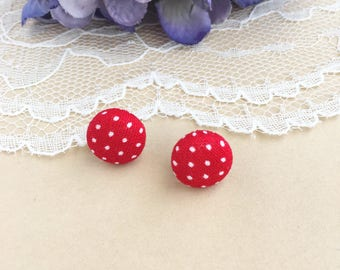 Red Polka Dot Fabric Stud Earrings, Red Studs, Red And White Polka Dots, Fabric Earrings, Stud Earrings, Button Earrings, Simple Earrings