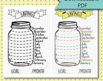 Bullet Journal Stickers - Savings Jar - Savings Tracker Page - Stickers Downloadable PDF - For A5 Size Journal