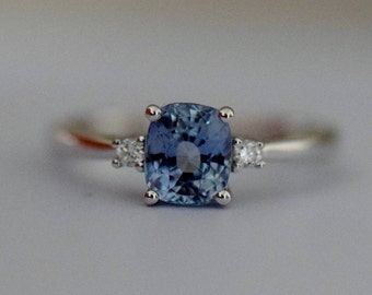 Sky Blue Sapphire ring 14k White Gold Engagement Ring Cushion engagement ring 1.35ct Sky blue sapphire engagement ring by Eidelprecious