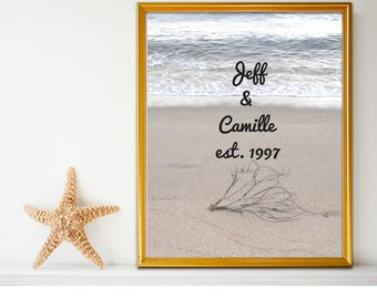 Personalized Beach Picture with Branch Wall Art