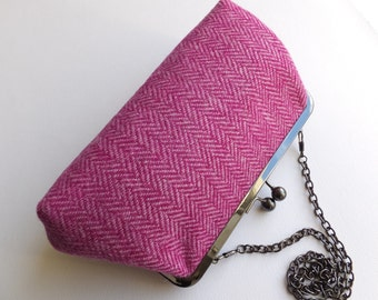 Pink Harris tweed purse/clutch. Tweed clutch bag.