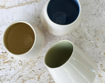 Ceramic Tumbler, Cup, Pottery Cup, White Cup, Yellow, Blue, Green
