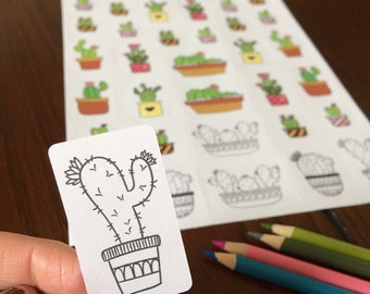 Cactus stickers (set of several cactus) including some to color on white paper or kraft paper