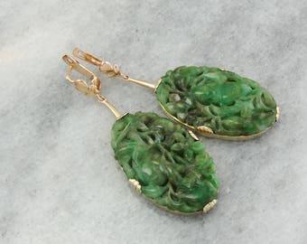 Vintage Jade Earrings, Large Carved Jade Drops, Jade Statement Earrings, Vintage Gold Earrings NVZHZE-R
