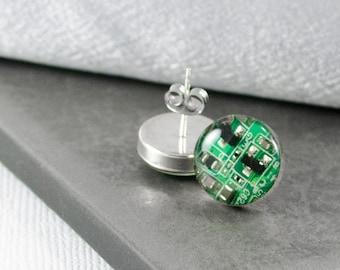 SMALL Green Circuit Board Post Earrings, Sterling Silver Stud Earrings, Wearable Technology, Computer Earrings, Geeky Engineer Gift for Her