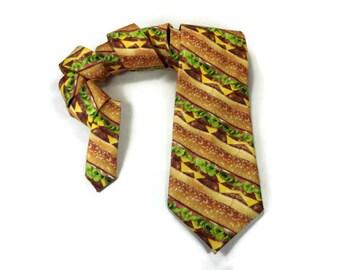 Cheeseburger tie, Hamburger necktie, Food tie, novelty necktie, food accessory,cheese tomato lettus, hamburger patty