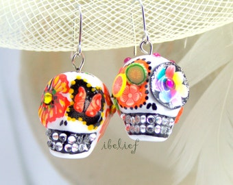 Skull new collection day of dead skulls white earrings stone