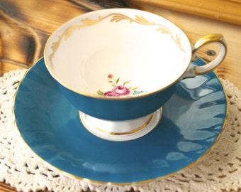 Vintage Susie Cooper Teal Teacup and Saucer
