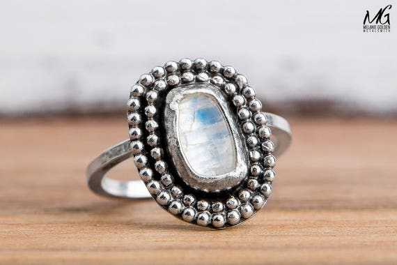 Rainbow Moonstone Gemstone Ring in Sterling Silver - Size 4.5