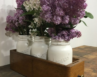 Mason Jar Decor, Centerpiece Decor, Spring Decor, Lilacs, Tablescape, Farmhouse Decor, Sewing Drawer, Vintage Decor