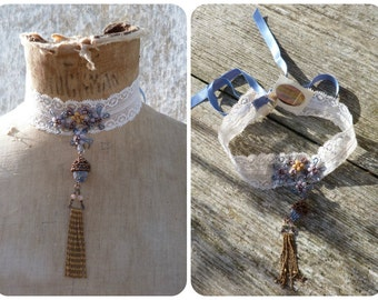 DENTELLE Handmade in France  cotton lace & beaded composition  choker necklace