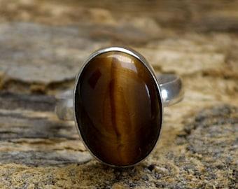 Natural Tiger Eye Gemstone Ring, 925 Sterling Silver Ring, Oval Cab Tiger Eye Ring, Gemstone Silver Ring, Artisan Birthstone Ring